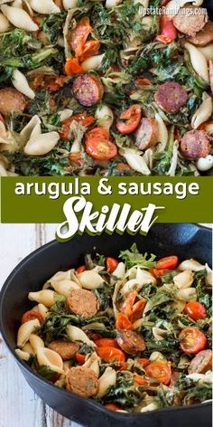 Cajun Delicacies Is A Lot More Than Just Yet Another Food Arugula And Sausage Skillet - This Easy One Dish Skillet Meal Combines Arugula With Italian Sausage, Tomatoes And Leftover Pasta For A Delicious And Quick Weeknight Dinner. Arugula Recipes, Healthy Pasta Recipes, Healthy Pastas, Quick Dinner Recipes, Real Food Recipes, Easy Recipes, Amazing Recipes, Lunch Recipes, Delicious Recipes
