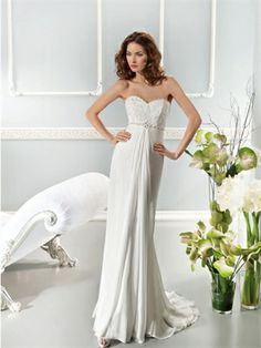 White Column Sweetheart Beading Lace Chiffon 2014 Wedding Dresses