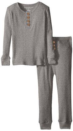 Burt's Bees Kid's Organic Henley Pajama Tee and Pant Set - 7 Years - Heather Grey