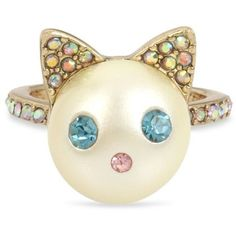 Betsey Johnson Gold-tone Colored Pave & Imitation Pearl Cat Ring In Blue Cat Jewelry, Pearl Jewelry, Crystal Jewelry, Jewelry Rings, Jewellery, Betsey Johnson, Multi Coloured Rings, Cat Ring, Animal Rings