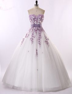 Real Photo White and Light Purple Sweetheart Wedding Dresses Embroidery Wedding Dress 2017 Crystal Floor Length Prom Bridal Gown