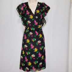 Old Navy Dress XXL Black Pink Yellow Floral Sheer Chiffon Short Sleeve Lined  #OldNavy #TeaDress #Sheath #Casual #Festive