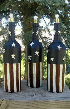 Tiki Torch Wine Bottle Independence Day by PurposefulRepurpose (Liquor Bottle Crafts) Wine Bottle Tiki Torch, Liquor Bottle Crafts, Wine Bottle Art, Painted Wine Bottles, Diy Bottle, Bottles And Jars, Bottle Garden, Glass Bottles, Wine Glass