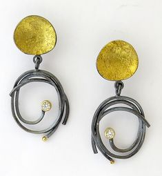 Pebble Scribble Earrings by Sydney Lynch: Gold, Silver and Stone Earrings available at www.artfulhome.com