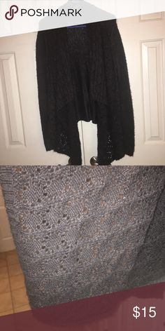 LOFT Charcoal Flowing Cardigan. So pretty for fall!!  Dark gray with flowing lapel with a very pretty pattern as shown in pic 2. Snuggle up with your fave leggings. 100% Acrylic. Smoke free home. LOFT Sweaters Cardigans