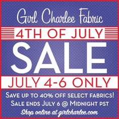 Save BIG in our 4th of July Fabric sale starting tomorrow, July 4! We have slashed prices on select fabrics throughout the store with savings up to 40% off. Quantities are limited so shop fast for the best selection. Get those patterns and projects ready to go, set your clock, and do not miss out as the sale ends midnight July 6!