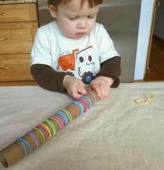 Fine Motor with our paper towel tubes