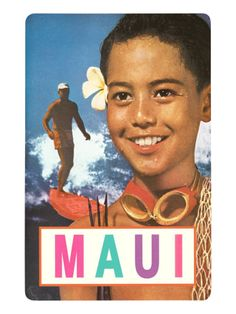 Maui, Surfer and Diving Boy Premium Poster at Art.com