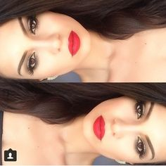 Bronze eyeshadow red lips, prom makeup inspiration