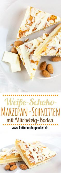Weiße-Schoko-Marzipan-Schnitten: Mürbeteig-Boden, eine dicke Marzipan-Schicht und ein Belag aus Mandeln mit einer weißen Schokoladen-Glasur. Ein Muss für Marzipan-Fans!