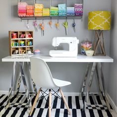 Love this sewing desk space