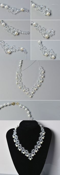 Wanna this glass and pearl beads necklace