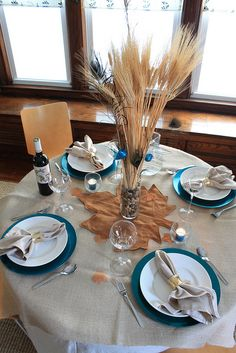 Fall Tablescape with Pier 1 Roly Poly Clear Glass Votives and Hammered Gold-Finish Napkin Rings
