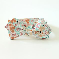 Mint & Peach Mini Floral Bow Tie  Men's Bowtie  by HandmadeByEmy