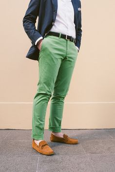Green Chino Pants Men