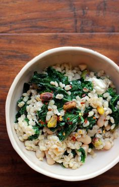 When warm weather hits, grain salads make for the perfect light meal. This barley salad with kale, pistachios, and feta is a great summer side or dinner salad.