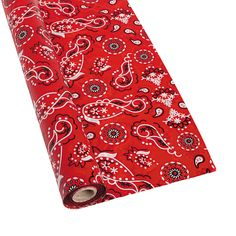 "Red Bandana Tablecloth Roll - OrientalTrading.com  40"" X 100' at $21.00"