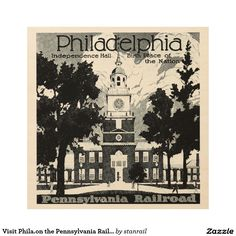 Visit Phila.on the Pennsylvania Railroad Wood Wall Art; $77.95 - #stanrail - Each print is produced with eco-friendly ink on high quality birch plywood. The beautiful wood grains shine through with the omission of white ink during the printing process creating a statement piece perfect for any space. WoodSnap, the original print on wood company.  @stanrails_store