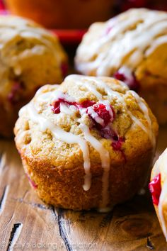 Cranberry Orange Muffins by sallysbakingaddiction.com-- buttery and moist, these festive muffins are packed with flavor!