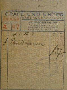 """Königsberg i. Pr. - """"Das Haus der Bücher"""" GRÄFE UND UNZER am Paradeplatz 6, Kassenzettel für den Kauf von """"1 Shakespeare, 1.75 RM"""", ca. 1940"""