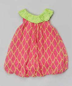 cb31eac7b75 Look at this Baby Essentials Pink   Green Quatrefoil Yoke Bubble Romper on   zulily today!
