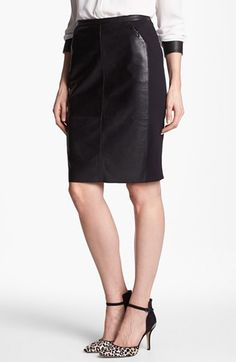 Leather accent pencil skirt- available in #petite! #NSale