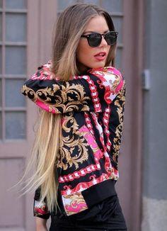 Printed bomber jacket! ♥