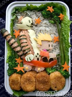 I love these Bentos Calvin and Hobbes, Muppets, Sailor Moon and Nightmare before Christmas