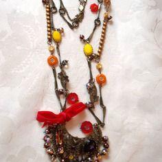 Sautoir metal bronze perles et cristal multicole