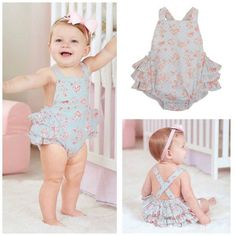 Smocked actions com Baby Ruffle Romper, Baby Girl Romper, Little Girl Dresses, Baby Girl Newborn, Baby Dress, Cute Outfits For Kids, Toddler Outfits, Outfits Niños, Baby Sewing Projects