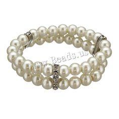 Cristal pulsera de perlas, Perlas de vidrio, con espaciador de latón de diamantes de imitación, chapado en color de platina, 3.5x17.5x7mm, 7x8mm, longitud:aproximado 7 Inch, 10Strandsfilamento/Grupo, Vendido por Grupo,Abalorios de joyería por mayor de China
