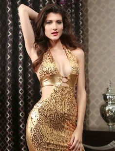Gold Sequin Vinyl Club Wear