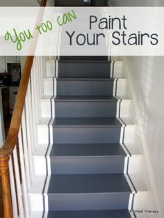 Paint your stairs tutorial. Add paint additive to roughen the texture so it isn't slippery.