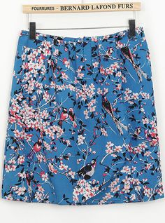 Blue High Waist Floral Birds Print Skirt US$20.33