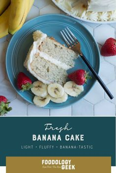 Banana Cake with Cream Cheese Frosting. Sometimes banana cake tastes like banan bread. This cake is a super moist and light homemade banana cake. Cake Frosting Recipe, Frosting Recipes, Cake Recipes, Cake With Cream Cheese, Cream Cheese Frosting, Banan Bread, Real Food Recipes, Cooking Recipes, Cake Tasting
