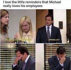 I love the little reminders that Michael really loves his employees - iFunny :) Really Funny Memes, Stupid Funny Memes, Funny Relatable Memes, Haha Funny, Hilarious, Top Funny, Funny Stuff, Office Jokes, Funny Office Memes