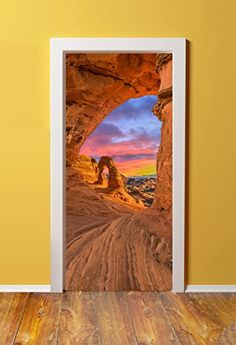 Windowpix DoorPix 989 Violet Haze Over Horseshoe Bend Arizona Canvas Door (Sticker) Murals – Peel and Stick – Made from Tear-Proof, Easy-to-Clean, Cotton Glossy Bubble Free Door Stickers, Wall Stickers Murals, Free Stickers, Door Murals, Detailed Image, Cotton Canvas, National Parks, Cleaning, Doors