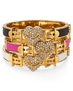 Juicy Couture Pavé Locked Heart Leather Bangle  Bloomingdale's