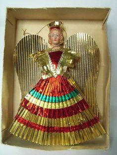 Antique german gold wax tinsel Nuremberg Cherub ANGEL Feather Tree Ornament#3