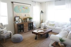 What could be better than hiding a TV behind a vintage roll up map? » TV SolutionHome Love Stories