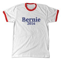 Vote for Bernie, 2016.  Our shirts are high quality screen printed tees! This is a white/red ringer t-shirt. 100% cotton.  Shirt color: White/Red