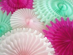 XL mint green pink tissue fans for pinwheel by DellaCartaDecor