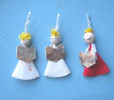 3 Sweet Angel Gift Ties/Feather Tree Toppers  by MintysMercantile