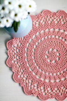 vintage Nice pink doily, cotton, 38 cm in diameter. Crochet Doily Rug, Crochet Placemats, Crochet Motifs, Crochet Round, Cotton Crochet, Crochet Home, Thread Crochet, Crochet Patterns, Diy Crochet