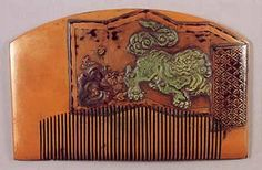 Early Edo comb, c. 1700. The artist painted a screen with an inlaid jade Japanese water God.