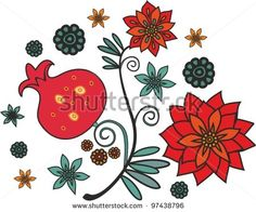 ornament with pomegranate - stock vector