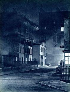 Cul-de-sac: Cul-de-sac, Brompton Road, from London Night – John Morrison and Harold Burkedin 1934 Night Photography, Vintage Photography, Star Photography, Nocturne, John Morrison, London Night, Dark City, The Blitz, London History