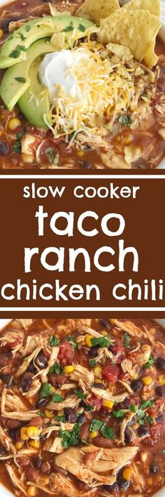 You'll love this taco ranch chicken chili that cooks in the slow cooker all day! Tender chicken loaded with vegetables, beans, and plenty of flavor. Only a few pantry staple ingredients is all you need for a satisfying dinner that is so comforting. Be sur Crock Pot Recipes, Crock Pot Cooking, Chili Recipes, Slow Cooker Recipes, Mexican Food Recipes, Cooking Recipes, Healthy Recipes, Crock Pot Chili, Taco Chili