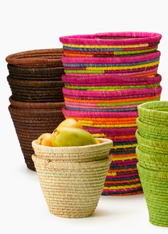 MADAGASCAR: These round dyed and natural raffia baskets are each handmade in the island country of Madagascar.  #FairTuesday