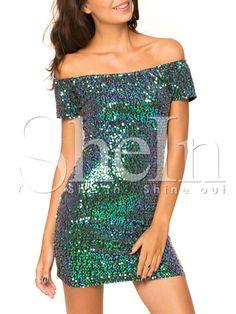 Green Short Sleeve Off The Shoulder Sequined Dress-SheIn